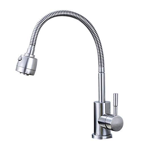 MONFS-Bathroom tap Taps Kitchen Stainless Steel Hot And Cold Dish Basin Faucet Universal Tube Like Sink Faucet Brushed Lead-Free