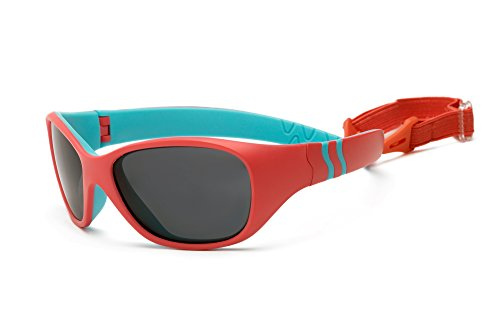Real Kids Shades Adventure Sunglasses for Baby, Toddler, Kid - 100% UVA UVB Protection, Polycarbonate Lenses, Unbreakable, Flex Fit, Wrap Around Frames (Baby 0+, Coral/Light - Around Sunglasses Baby Wrap