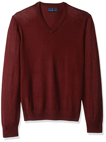 BUTTONED DOWN Men's Italian Merino Wool Lightweight Cashwool V-Neck Sweater, Burgundy, XXX-Large