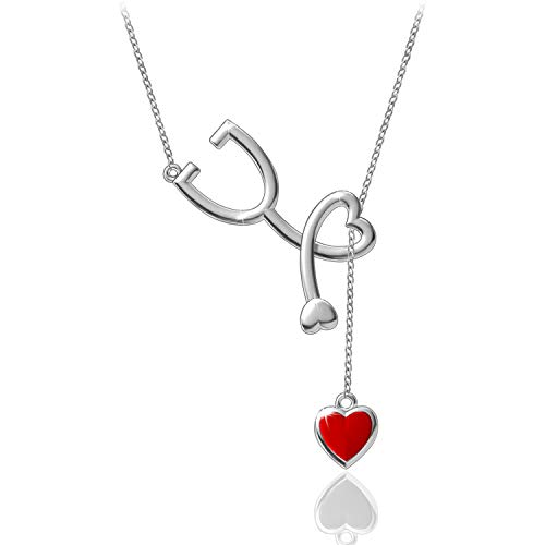 ACJNA 925 Sterling Silver Medical Stethoscope Lariat Y-Necklace Heartbeat Pendant for Doctor Student Gift Nurse Jewelry (Heartbeat Stethoscope Y Necklace)