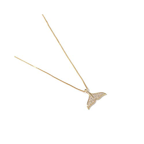 ZOEKIM Mermaid Tail Necklace Delicate Dolphin Pendant Choker Necklaces Women (Dolphin Tail Pendant)