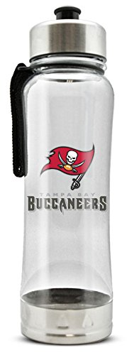 NFL Tampa Bay Buccaneers 20oz Clip-On Clear Plastic Water Bottle