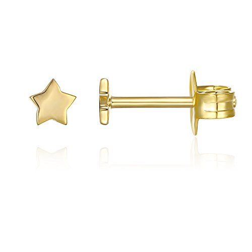 PAVOI 14K Gold Plated Star Stud Earrings - (14k Star Earrings)