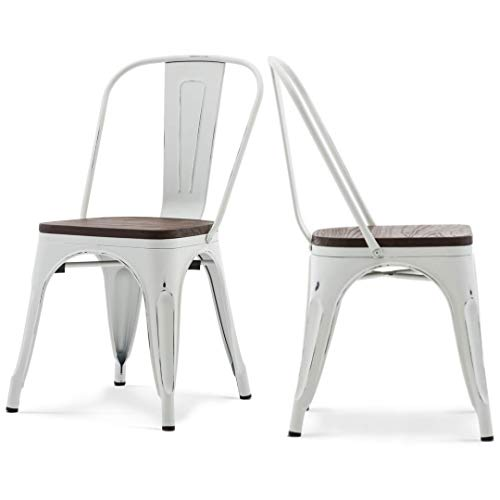 Modern Vintage Style Premium Metal Frame Construction Stacking Chairs Vertical Slat Curved Back Design With Wood Seat Indoor-Outdoor Home School Office Furniture Decor - [Set of 4] Antique White #2256