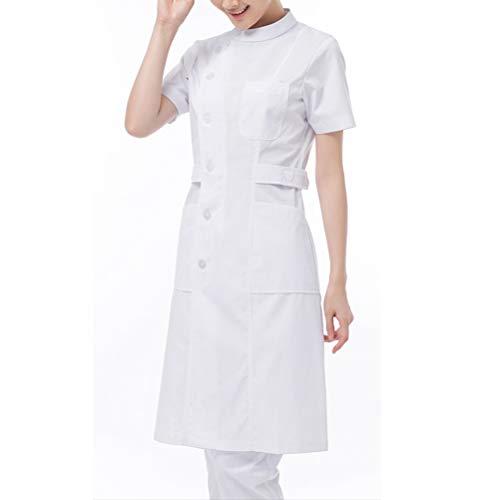 Nanxson(TM Women's Short Sleeve Nurse Uniform Lab Uniform Coat CF9007 (L, White)
