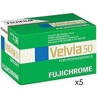 Fujifilm Fujichrome Velvia 50 Color Slide Film ISO 50, 35mm, 5 Rolls of 36 Exposures