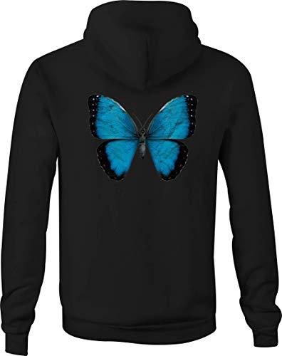 Zip Up Hoodie Blue Beautiful Butterfly Hooded Sweatshirt for Men - 2XL - Womens Hoodie Butterfly Zip