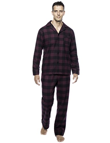 Flannel Gingham (Noble Mount Men's Premium Flannel Pajama Set - Gingham Fig/Black - Medium)