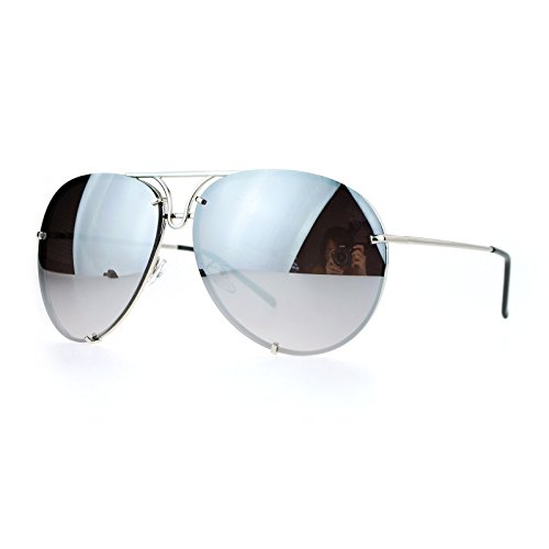 Oversized Round Aviator Sunglasses Metal Rims Silver, Silver Mirror - Oversized Aviator