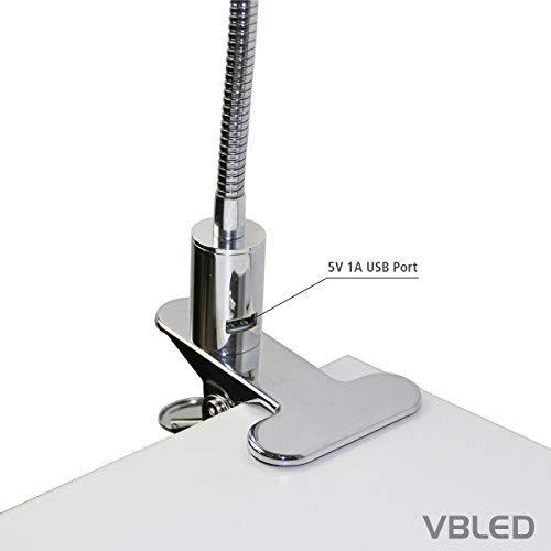 con USB Conector con fuente /& abrazadera para fijaci/ón en el mesa intensidad regulable L/ámpara de escritorio LED de 5/W 320/l/úmenes//4000/K NW 60/cm cuello de cisne