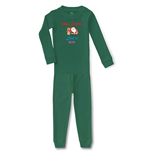 Personalized Custom Dear Santa Did it Cotton Crewneck Boys-Girls Infant Long Sleeve Sleepwear Pajama 2 Pcs Set - Kelly Green, 18 Months]()