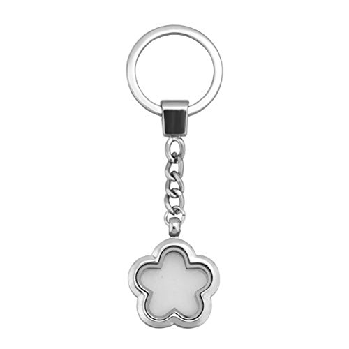 Mel Crouch keychain Heart&Round&Flower Crystal 30mm Glass Living Memory Locket Key Ring for Floating Charms Magnetic (Style-5) - Floating Glass Ring