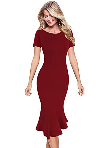 VFSHOW Womens Dark Red Elegant Vintage Blue Cocktail Party Mermaid Midi Mid-Calf Pencil Dress 2783 RED XS