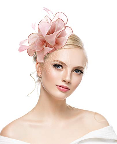 - Pink Fascinators Hat Sinamay Flower Mesh Feathers on a Headband and a Clip Tea Party Headwear for Girls and Women