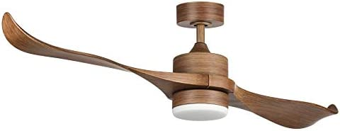 CO-Z 52-Inch Ceiling Fan with 2 Walnut Color ABS Blades and White Glass 15W LED Light Kit, Natural Walnut Finish Natural Walnut