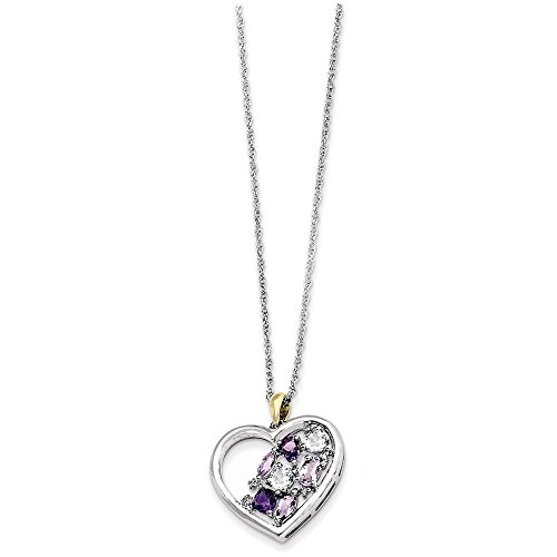 Sterling Silver & 14K Amethyst and Topaz and Diamond Necklace