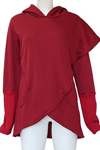 Top Maglietta Bluse Tunica Asimmetrico Felpe Cappuccio Moda a Tinta Shirt Camicie Divertenti Pullover Poncho Tee con Basic Rosso Donna e Ragazza Irregolare Lunghe Wrap Tulipano Felpe Maniche Unita Orlo 7pwq1an
