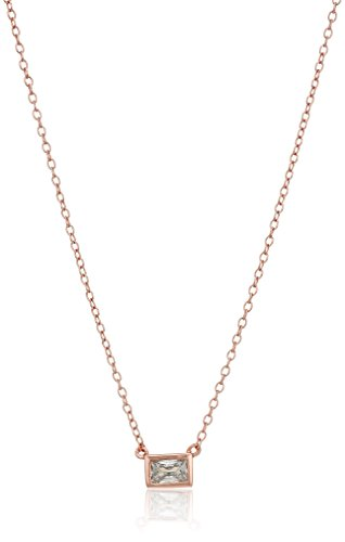 SHASHI Baguette Rose Gold Chain Necklace, 16