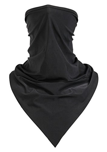 Silk Cooling Outdoor Headwear UV Protection Face Mask Neck Gaiter Black ()