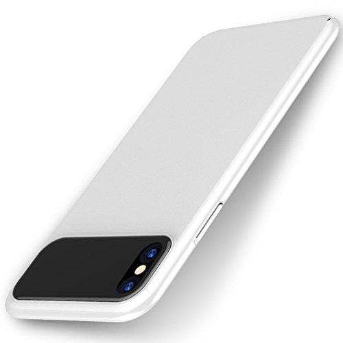 Hayder iPhone X case, iPhone Xs Case Hard PC Ultra Slim Scratch -Proof Cover Clear Tempered Glass Lens Protection Case. (White )