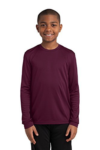 Sport-Tek Youth Long Sleeve PosiCharge Competitor Tee. YST350LS Maroon (Sport Tek Youth Color)
