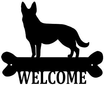 Precision Metal Art German Shepherd Steel Laser Cut Wall Art with Welcome Script 18 Patina