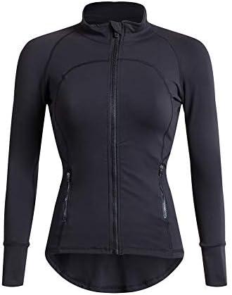 クラシック女性ヨガスポーツトップス、ジッパーは、フィットネスワークアウトを実行するために長袖のヨガのシャツとスポーツジャケットを実行します,B,L