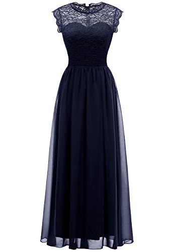 - MUADRESS 6056 Women's Vintage Lace Chiffon Bridesmaid Formal Evening Party Maxi Dress Navy Small
