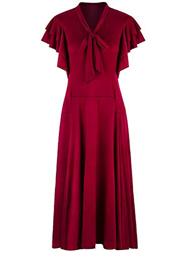 VIJIV Women's Vintage 1920s Midi Flapper Dress V Neck Long Bias Cut Sleeveless with Flutter Sleeves Bowknot Roaring 20s Great Gatsby Dresses Red, Large]()