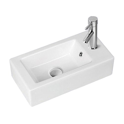Small Above Counter Vessel Sink White Grade A Vitreous China Rectangle Design Single Faucet Hole And Overflow Scratch And Stain Resistant Renovators Supply