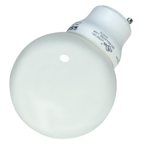 Satco S8221 15 Watt (60 Watt) 740 Lumens Globe CFL Soft White 2700K GU24 Base Light -