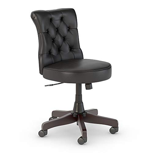 Bush Furniture Salinas Mid Back Tufted Office Chair in Black - Office Furniture Black Wood
