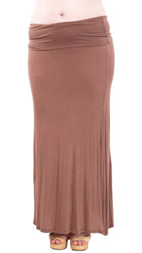 Plus Size Mocha Basic Long Skirt Elastic Waist