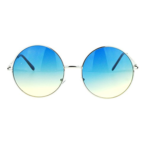 Hippie Retro Groovy Gradient Oversize Circle Lens Round Lennon Sunglasses - Sunglasses Blue Circle