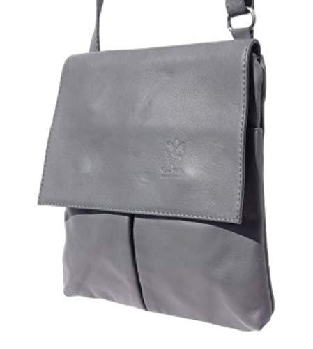 Italy bandoulière Sac cuir véritable Made en Lucia bandoulière à Superflybags à Sac Grey 6H1PpO