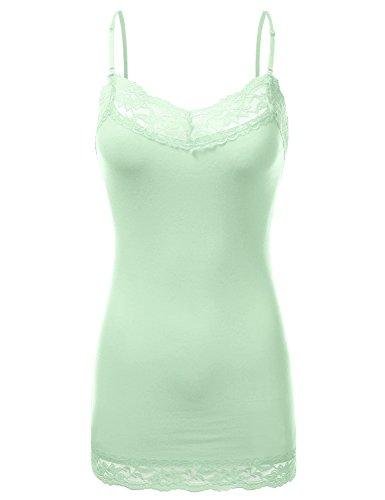 JJ Perfection Women's Stretch V-Neck Lace Trim Camisole Tank Top SAGE 2XL