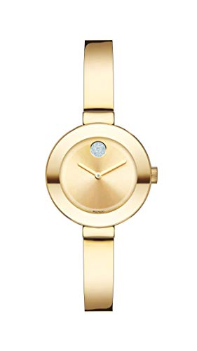 Movado Women s BOLD Bangles Yellow Gold Watch with a Flat Dot Sunray Dial, Gold Model 3600285