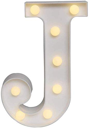 LED Marquee Letter Lights,26 Alphabet & Arabic Numerals 0-9 Warm White Decorative Marquee Lamps for Wedding Birthday Party Battery Powered Christmas Lamp Home Bar Decoration (Letter-J) (Hot Christmas For Items 2019)