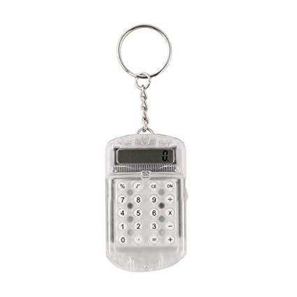 eDealMax Dígitos Mini calculadora de bolsillo Ultra Delgado Con llavero Llavero Blanco claro