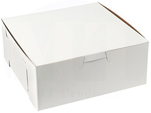 MT Products 6 inches x 6 inches x 3 inches Clay Coated Kraft Paperboard White Non-Window Lock Corner Bakery Box (50 Pieces) ()