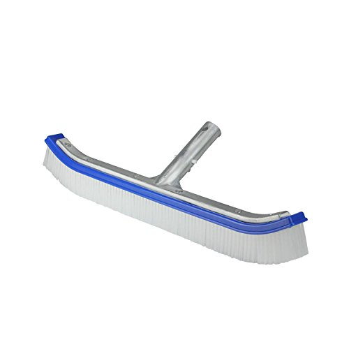 Pool Central 18'' Blue Standard Curve Nylon Bristle Wall Brush with Aluminum Support by Pool Central