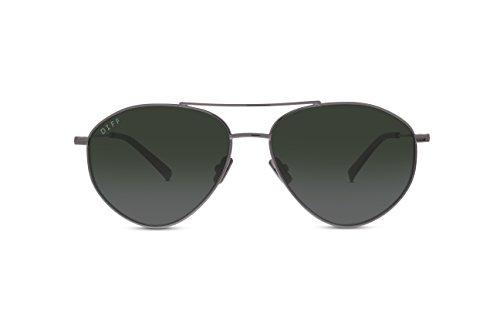 DIFF Eyewear Scout Metal Angular Aviator Polarized Womens Designer Sunglasses Light Gunmetal - Angular Sunglasses