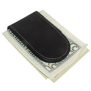 - Black Leather Magnetic Money Clip
