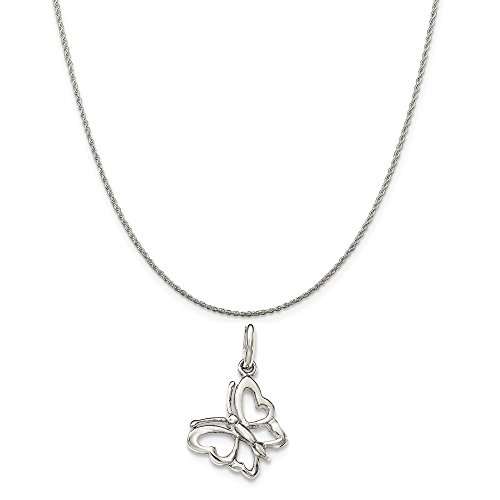 Sterling Silver Polished Butterfly Charm on a Sterling Silver Rope Chain Necklace, (Silver Small Butterfly Charm)