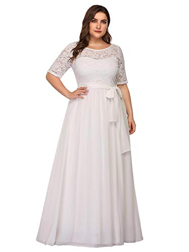 Ever-Pretty Plus Size Women Lace Illusion Mother of The Bride Dresses 22US White