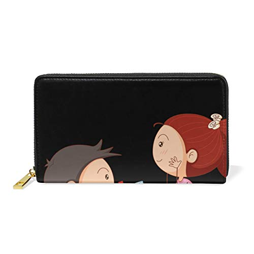 Marriage Engagement Pa Cartoon Couple Genuine Leather Wallet Case Credit Card Holder Travel Purse With Zipper Pocket For Women by NWTSPY