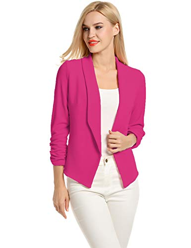 Travelers Clothing for Women Jackets Ladies Blazers and Jackets Casual (Rose Red, S) (Blazer Color)
