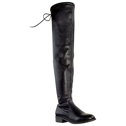 Generation Y Womens Knee High Boots Lace Up Block Heel Over the Knee Riding Boots Faux Leather Black SZ 8
