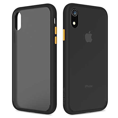 OCYCLONE iPhone XR Case, [Certified Military Protection] [Agile Button] Translucent Matte Case with Soft TPU Edges, Shockproof Anti-Drop Half Clear Protection Phone Case for iPhone XR - Black