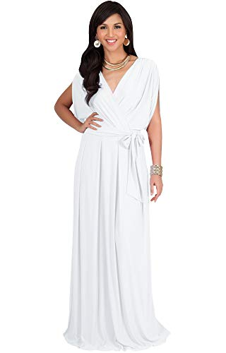 KOH KOH Plus Size Womens Long Formal Short Sleeve Cocktail Flowy V-Neck Casual Bridesmaid Wedding Party Guest Evening Cute Maternity Work Gown Gowns Maxi Dress Dresses, Ivory White XL 14-16]()